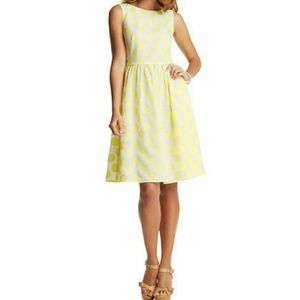 Ann Taylor LOFT 10 Lemon Yellow Polka Dot Dress